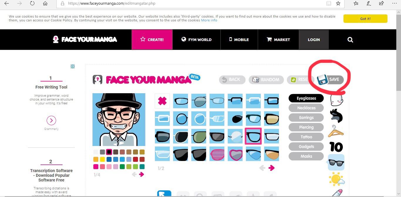 face your mangaの設定画像
