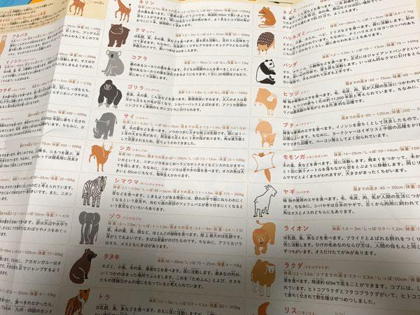 説明書の裏に動物の特長が書いてある