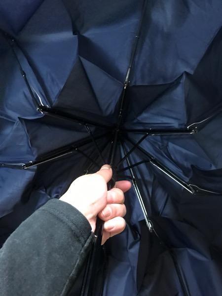 Wpc折りたたみ傘を開いたところ
